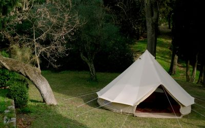 Riverside glam-ping bell tents at Revelwood Retreat